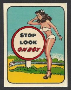 "Vintage Original 1940's ""Stop Look Oh Boy"" Sexy Gal Pinup Travel Water Decal Art | eBay"