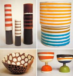 The patterns and colors of Ettore Sottsass Ceramics from the 50s are rad. (photos from here )