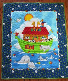Noah's Ark Quilt, Dove, Baby Quilt, Quilted Panel, Bible story, Baby Shower Gift, Comforter, Crib Blanket, Wall hanging, Genesis, B-28