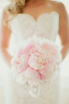 Pastel Blush Pink Peonies Bridal Bouquet