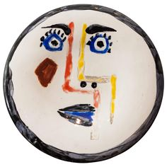 Pablo Picasso, 'Visage No. 192' ('Face') Ceramic Plate, 1963   From a unique collection of antique and modern ceramics at https://www.1stdibs.com/furniture/dining-entertaining/ceramics/