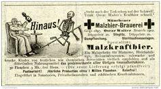 Original-Werbung/ Anzeige 1903 : MÜNCHENER MALZBIER- BRAUEREI / MOTIV SENSENMANN - ca  100 x 50 mm