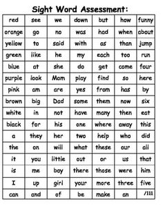 Kindergarten and First Grade sight word assessment with go