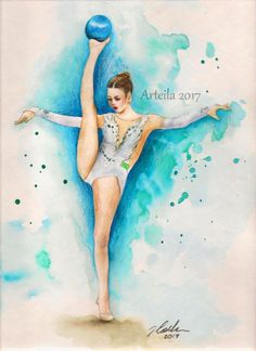 inspired by Aleksandra Soldatova (Russia) Drawing Sketches, Art Drawings, Dancers Body, Dancing Drawings, Ballet Art, Kawaii, Rhythmic Gymnastics, Pictures To Draw, Love Art