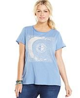 Lucky Brand Plus Size Printed Keyhole Tee