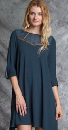 Teal Embroidered Sweater Dress