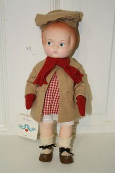 "Effanbee 'Patsy' 1987 doll 13.5"" with camel hair coat and hat.  #4104 **head says Patsy 1986 and back says skippy 1979** $45"