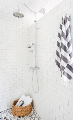 If you ask me, Homepolish is the interior design version of a fairy godmother. Homepolish interior designer Stefani Stein took this L. bungalow down to the studs, moved walls, raised ceilings and put in new windows. Bad Inspiration, Bathroom Inspiration, Wedding Inspiration, Bungalows, Shower Floor, Tile Floor, Shower Tiles, Shower Rod, Rain Shower