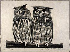 Two Owls by Elizabeth Olds / woodcut