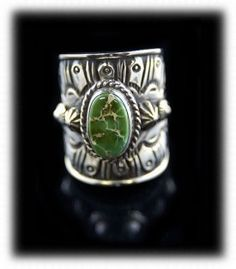 Green Turquoise Navajo Silver Ring - Navajo Jewelry
