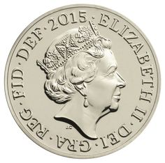 A 2015 £1 coin bearing the fifth definitive coinage portrait of Her Majesty The Queen