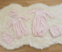 Our 5-piece smocked layette collection is a must have for your baby girl and makes the most beautiful baby gift for family and friends! Available in sizes Newborn-9m! http://feltmanbrothers.com
