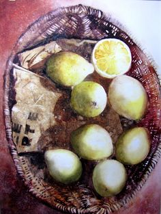 CITRONS  aquarelle originale 46X62 reproduction interdite