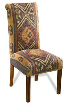 Copper Creek Rustic Cabin Woven Kilim Dining Chairs for desk Dinning Chairs, Upholstered Dining Chairs, Chair And Ottoman, Dining Room, Dining Table, Southwestern Decorating, Southwest Decor, Southwest Style, Southwestern Dining Chairs