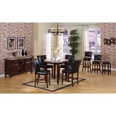 @Overstock - Bring a fresh, modern look and feel to your dining decor with this stunning dark faux-marble table from Radians. Black upholstered barstools bring a comfortable feel and stylish design to this lovely table set.  http://www.overstock.com/Home-Garden/Radians-Emperor-Dark-Faux-marble-Table-with-Black-Barstools/6793601/product.html?CID=214117 $732.99