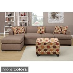 2 pc Jaimeson III collection stone blended linen fabric upholstery sectional sofa set with reversible chaise  sc 1 st  Pinterest : sectional with movable chaise - Sectionals, Sofas & Couches