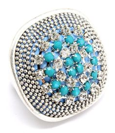 SILVER LARGE STATEMENT RING TURQUOISE&CRYSTAL STUDS STRETCH TEXTURE FASHION  #Unbranded #Statement