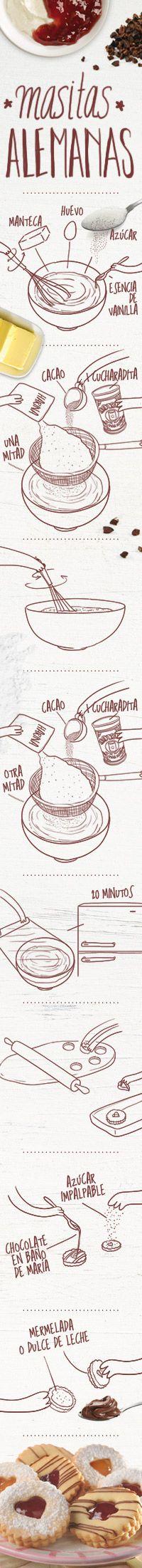 Ingredientes  Para la masa  150 g de manteca  ½ taza de azúcar  1 huevo  1 cdta. de esencia de vainilla  2 tazas de harina  1 cdta. de Polvo Royal  Para rellenar y decorar  100 g de chocolate cobertura  ¾ taza de azúcar  impalpable  150 g de dulce de leche  20 cdtas. de mermelada  de frutilla  20 cdtas. de mermelada  de durazno