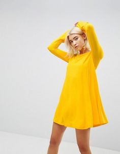 online shopping for ASOS Mini Swing Dress Seam Detail Trumpet Sleeve from top store. See new offer for ASOS Mini Swing Dress Seam Detail Trumpet Sleeve Robe Swing, Swing Dress, Asos, Trumpet Dress, Long Sleeve Mini Dress, Overall Dress, Womens Fashion Online, Couture, Yellow Dress