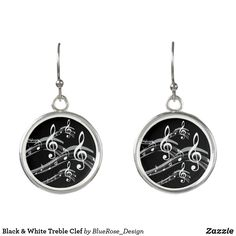 Black & White Treble Clef Earrings Treble Clef, Christmas Card Holders, Keep It Cleaner, Colorful Backgrounds, Silver Plate, Perfume, Cosmetics, Drop Earrings, Black And White