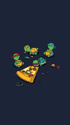 a las tortugas ninjas les gusta la pizza gigante