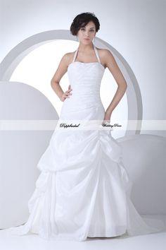 Wholesale Wedding Dress Taffeta Halter Beading  Floor length Train Custom made Plus size  WD60128