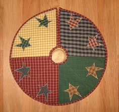Quilted Tree Skirt Primitive Country Plaid Homespun Scrappy Stars | eBay