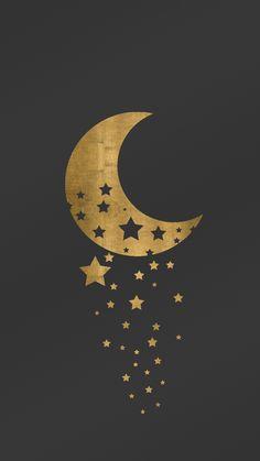 Elegant digital wallpaper/lockscreen for smartphone featuring a golden Moon & Stars theme.