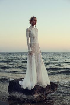 FOR THE DRESS || NOVELA BRIDE...Christos Costarellos Bridal Fall 2017 available at The Bridal Atelier || Long sleeve, high neck lace with floaty skirt || Where the modern romantics play & plan the most stylish weddings... www.novelabride.com @novelabride #jointheclique
