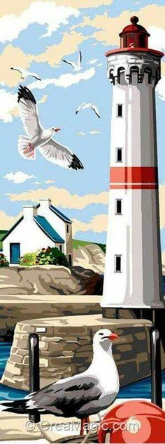 The lighthouse with seagulls Le phare aux mouettes The seagull lighthouse Lighthouse Painting, Sea Art, Needlepoint Canvases, Painting Inspiration, Vector Art, Folk Art, Watercolor Paintings, Art Drawings, Illustration Art