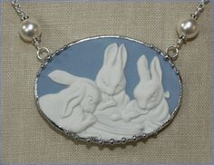 Broken China Jewelry Wedgwood Blue Jasperware Peter Rabbit Bunny Large Oval Necklace Flopsy, Mopsy and Peter Cottontail