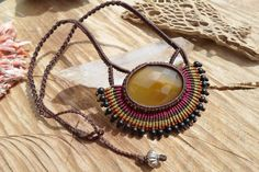 handmade macrame colorful necklace with agate by ARTEAMANOetsy