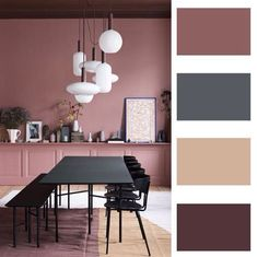 How to choose colors to decor your room? Start with this article and get new ideas! Colors are important factors to make your room look better. Different color matching of walls and furniture will. Decor Interior Design, Interior Decorating, Living Room Decor, Bedroom Decor, Dining Room, Paint Color Palettes, Room Color Schemes, Paint Schemes, Green Rooms