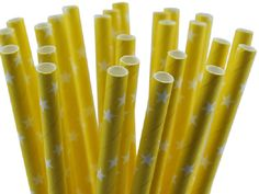 """Bright Yellow with White Stars Paper Straws by JazzyAppleGal; also on Facebook """"JAZZY APPLES AND CHOCOLATES"""""""
