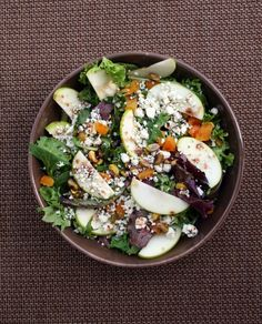 Harvest Apple Salad. The perfect recipe to welcome fall. Crisp apples, pistachios, apricots, and blue cheese are mixed with field greens and dressed with an apple cider vinaigrette.