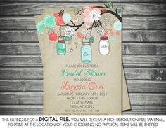 Bridal Shower Invitation  Mason Jar Mint di SassyGraphicsDesigns, $13.00