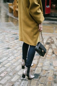 Yellow wool winter coat, Black vintage chanel bag, skinny jeans, metallic ankle boots