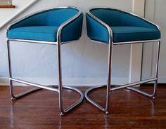 Pair of Stunning & Sleek Mid-Century Chrome Counter Stools Designed by Anton…