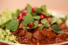 ... -style supper served on minted broccoli couscous with pomegranate