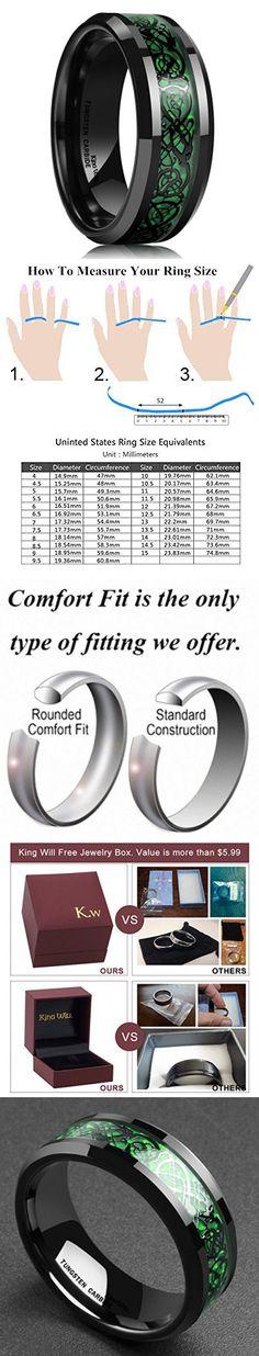 King Will Men's 8mm Green Carbon Fiber Black Celtic Dragon Tungsten Carbide Ring Comfort Fit Wedding Band (10.5)