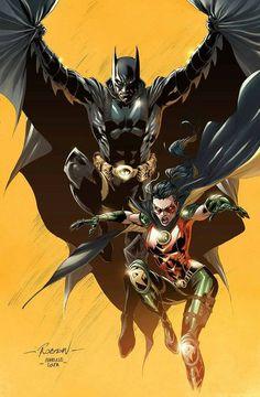 Batman (Bruce Wayne) & Robin (Helena Wayne) by Robson Rocha Batman Robin, Batman Y Superman, Batman Poster, Spiderman, Batman Arkham, Batman Painting, Batman Artwork, Batman Wallpaper, Heros Comics