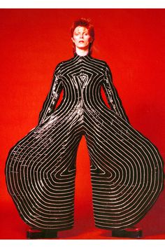 """Museum Of Contemporary Art, Chicago David Bowie Sixty stage costumes. Striped bodysuit for the Aladdin Sane tour, Design: Kansai Yamamoto. From the exhibit """"David Bowie Is,"""" through January // Empress of Style Ziggy Stardust, Aladdin Sane, Glam Rock, Victoria And Albert Museum, Duncan Jones, Angela Bowie, Kansai Yamamoto, Yohji Yamamoto, The Thin White Duke"""