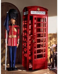 Design Toscano Authentic Replica British Telephone Booth in Rich Red London Telephone Booth, Around The World Theme, Global Decor, World Decor, Up House, House Inside, Travel Themes, Bedroom Themes, England