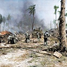 the_ww2_memoirs American soldiers belonging to the 7th Infantry Division move a 37mm M3 anti-tank gun following a M4 Sherman tank during the fighting on Kwajalein, Marshall Islands, February 2nd, 1945. The Japanese who were defending Kwajalein put up a very fierce fight and took many American lives Kwajalein has similar geographical features to the island of Tarawa which units from the US Marines took in November, 1943. They took thousands of casualties on Tarawa but learned from their…
