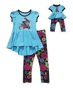 Another great find on #zulily! Aqua & Floral Shoe Leggings Set & Doll Outfit - Girls by Dollie & Me #zulilyfinds