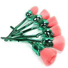 Coshine 6pcs Pro Enchanted Rose Flower Nylon Hair Makeup Brush Set, For foundation, loose powder, blush, shade