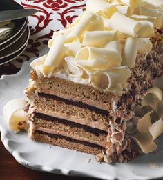 White Chocolate Espresso Torte with Hazelnut Praline  A fancy take on tiramisù: layers of tender, espresso-infused cake, chocolate ganache, and espresso mousse