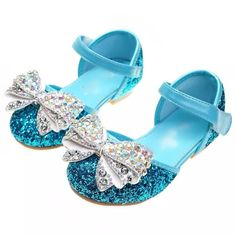 Bling Glitter Blue, Pink and Silver Girls Rhinestone Dress Shoes. Princess Bow Shoes for Wedding, Fl Flower Girl Shoes, Girls Dress Shoes, Girls Heels, Dresses Kids Girl, Star Shoes, Bow Shoes, Sparkle Shoes, Expensive Shoes, Princess Shoes