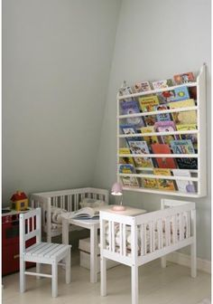 Organizing books in a kid's room:    Save floor space and make kids' books easy to find with a mounted magazine rack.