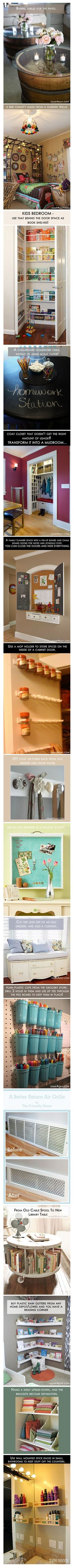 16 Amazing Do It Yourself Home Ideas | --Love the behind the door book shelf for Colton's room and the homework table!